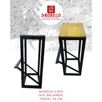Bangku Cafe tinggi 75 cm Desain Minimalis Drobelo Bahan Jati Belanda