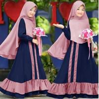 Baju Gamis Anak Perempuan Romera Fashion Anak Muslim Gamis Syari 2in1 - Navy