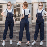 Fashion Baju Jumpsuit Playsuit Jeans Panjang Wanita Overall Kekinian