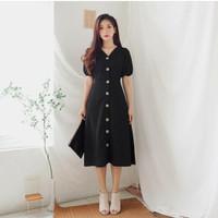 Fashion Baju Midi Dress Dres Gaun Casual Wanita Korea Moscrep Terbaru