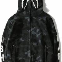 Hoodie Bape x NBHD Black Shark Full Zip Size XL