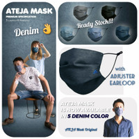 Masker ATEJA Premium Quality 3 ply Denim (5 warna)