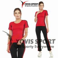 setelan baju senam aerobic zumba yovis lengan pendek wanita