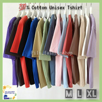 Baju Kaos Katun Polos Cotton Combed30s Pria Wanita M L XL Oblong Hitam