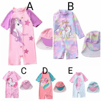 Baju renang anak + topi import quality unicorn