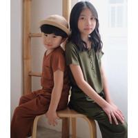 Lovebird - Piyama anak Unisex - Army & choco - Minimalis set pajamas