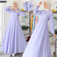 Baju Dress Muslim Gamis Katun Supernova Polos Warna Lilac 9965