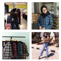 Atasan Baju Kemeja Kotak Lengan Panjang Moxie Ruffle Flanel Wanita