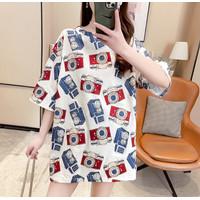 Kaos Oversized Motif Monokrom Monochrom T Shirt Longgar Wanita XXL