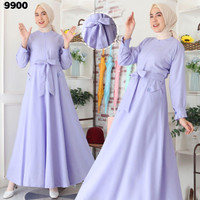 Baju Dress Muslim Gamis Katun Supernova Polos Warna Lilac 9900