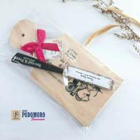 souvenir pernikahan telenan pisau unik rustic telenan kayu