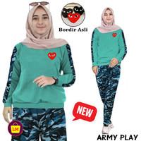 LM 20364 Setelan ARMY PLY Baju Setelan Training Senam Olahraga Wanita