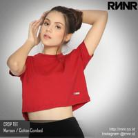 Kaos Dance Gym Wanita Crop Top Tee Olahraga Lari Fitness Katun RNNR
