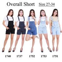 Celana Kodok Pendek Short Overall Jeans Stretch Denim Wanita Jumpsuit - HITAM 1740, 27