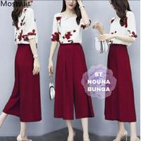 Fashion Baju Atasan Setelan Celana Kulot wanita motif Bunga Babyterry