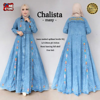 Baju gamis trendi terbaru bahan jeans motif bordir cantik - Chalista