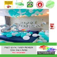 Dekorasi ulang tahun kamar PREMIUM tema Putih Tosca
