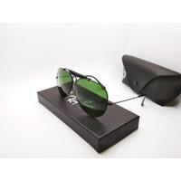 Kacamata Rayban Aviator Gading 3138 frame hitam lensa kaca hijau boto