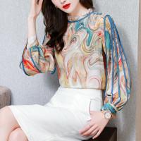 blouse wanita import baju kantor wanita motif print sifon plus size