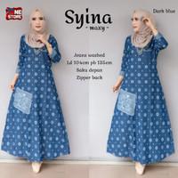 Baju gamis wanita muslim bahan jeans size XL terbaru - Syina
