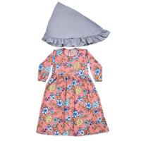 Baju Gamis Zahra 1 - 9 Tahun Maxkenzo Baju Muslim BerKualitas - Peach abu, S