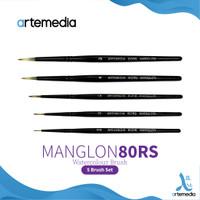 Kuas Lukis Artemedia Round Manglon Brush Set Short Handle