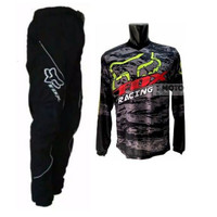 baju jersey Cross trail FOXX Hitam Celana Hitam