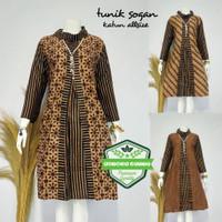 Tunik Pias Sogan Dress Batik Muslim Modern Etnik Baju Pergi Kerja