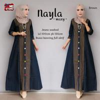 Baju gamis wanita busui bahan jeans kancing depan full - Nayla