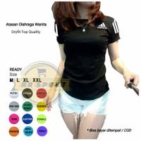 Baju Kaos Fitnes Lari Gym Senam Olahraga WANITA Ladies Atasan adl01