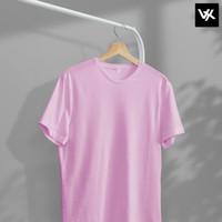 Kaos Polos Warna Merah Muda Pink Bahan Premium Cotton Combed 20s - S