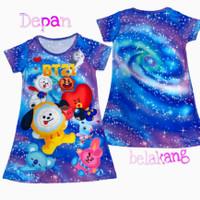 dress anak perempuan daster anak perempuan motif kartun fullprint - BT21, XS