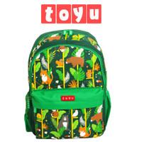 Backpack Tas Ransel Sekolah Anak Fashion Pria Perempuan Jungle Hijau
