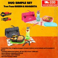 Tas Makan Set Tupperware - Lunch Box Set Wadah Simple Green