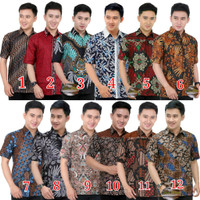 wAU Kemeja Batik Pria Lengan Pendek M L XL XXL Baju Seragam Original