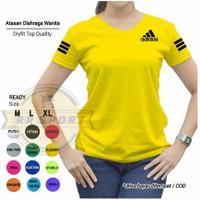 Baju Kaos Fitnes Lari Gym Senam Olahraga WANITA Ladies Atasan Adl02 - Kuning, M