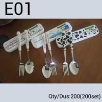 E01 Sendok Garpu Makan Gagang Keramik / Set Makan Traveling Karakter