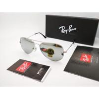 Kacamata Rayban Aviator 3025 silver mirror lensa kaca size 58