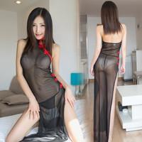 Lingerie seksi bahan tulle rok panjang cheongsam tipis dan lembut hot