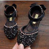 PRINCESS TOWN flat shoes sepatu anak perempuan import - BLACK, 23