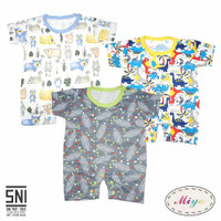 MIYO 3in1 Baju Bayi Jumper Segiempat Baju Kodok Pendek Motif Newborn