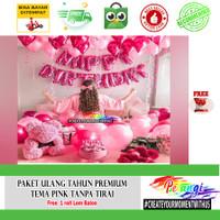 Paket dekorasi ulang tahun kamar Tema Pink Set