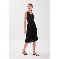 Aisla Pleated Tie Back Midi Dress - Black - L
