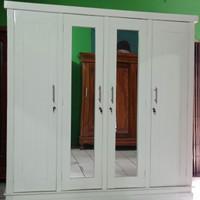 lemari pakaian 4 pintu jati cat Duco putih