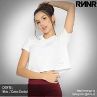 Kaos Olahraga Wanita Crop Top Tee Gym Dance Lari Fitness Cotton RNNR