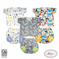 MIYO Setelan Baju Bayi Lengan Pendek dan Celana Pop Motif Sleepsuit