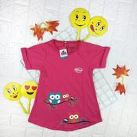 Baju Dress Tunik Atasan Kaos Anak Perempuan 2 3 4 5 6 7 8 9 Tahun - Pink Fanta, 2