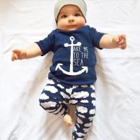 Setelan baju celana topi anak bayi laki 1-7 tahun keren