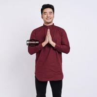 Baju Koko Lengan Panjang Kemeja Kurta Pria Cowok Merah Maroon Polos - Merah Maroon, M