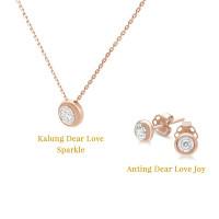 Bundle Berlian Kalung Sparkle & Anting Joy DearLove Swan Jewellery - Rose Gold